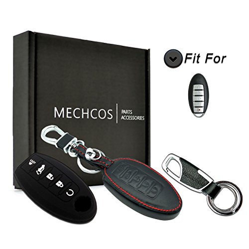 MECHCOS Compatible with fit for Nissan Altima Maxima 5 Buttons Leather Keyless Entry Remote Control Transmiter Combo Key Fob Case Cover Skin Protector, Bonus: Silicone Case and Zinc Alloy Key Ring