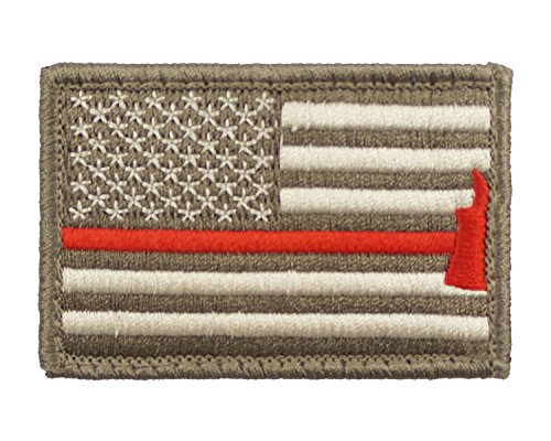 Firefighter Axe US Flag Thin Red Line Hook and Loop Morale Patch United States (Subdued)