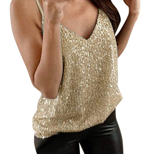 Miuye yuren Women's Sparkle Shimmer Camisole Sleeveless Tank Tops Ladies Sexy V Neck Swing Vest (L, A-Gold) (String Camisole)