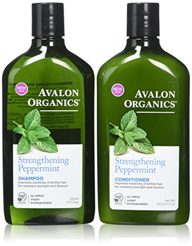 Avalon Organics Strengthening Peppermint Shampoo and Conditioner Set, 11 Ounce Each - Mint Peppermint Shampoo