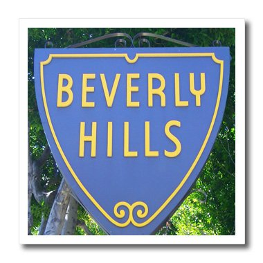 - 3dRose ht_62550_3 Sign for Beverly Hills California Iron on Heat Transfer for White Material, 10 by 10-Inch