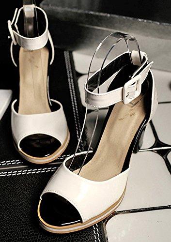 Aisun Bride Femme Cocktail Fille Blanc Sandales Talon Cheville Classique Moyen Nouveau rnrZExqpCw