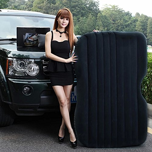 Aumomate Car Travel Durable Inflatable Mattress Heavy Duty Bed Universal Camping Black Mattress + Lighter Electric Air Pump