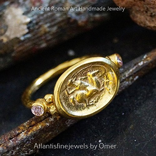 Hammered Handmade Pink Topaz Coin Ring 24k Gold Over 925k Silver By (Topaz Coin)
