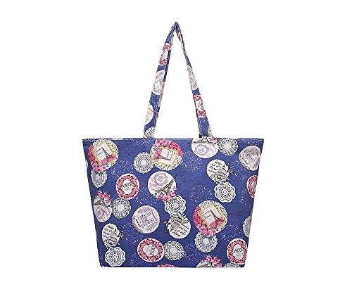 Tilly Shoes Paris Impresión Lienzo Bolso de mano bolso bandolera grande bolsa de la compra Multicolor - azul marino