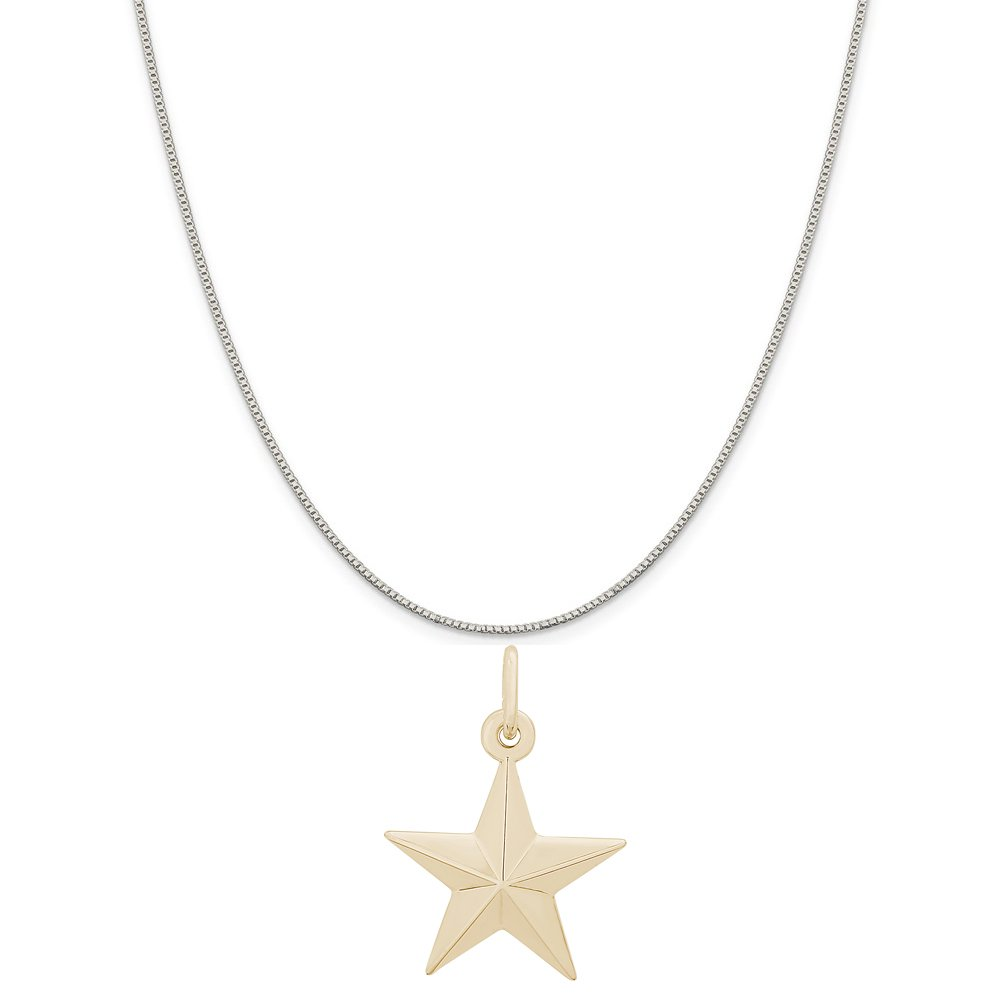 Rembrandt Charms Two-Tone Sterling Silver Christmas Star Charm on a Sterling Silver 16 Box or Curb Chain Necklace 18 or 20 inch Rope