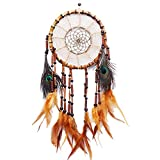 LanMa Handmade Dream Catcher (25.6'' Long) Indian Peacock Feathers Ornaments Home Wall Hanging Decoration