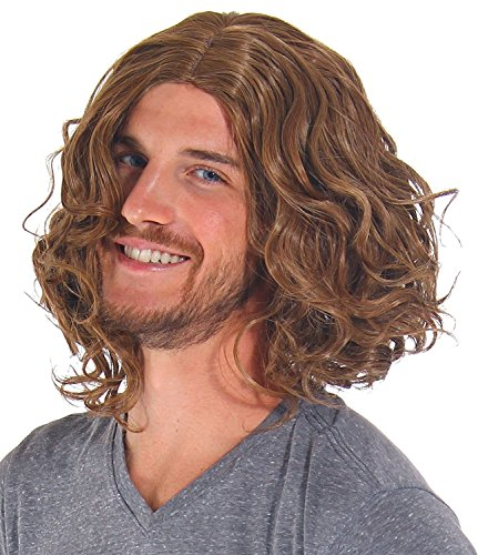 [B-G Mens Light Brown Curly Wig Heat Resistant Hair Wigs Natural Looking Wigs for Party/Daily Use] (80s Male Fashion)
