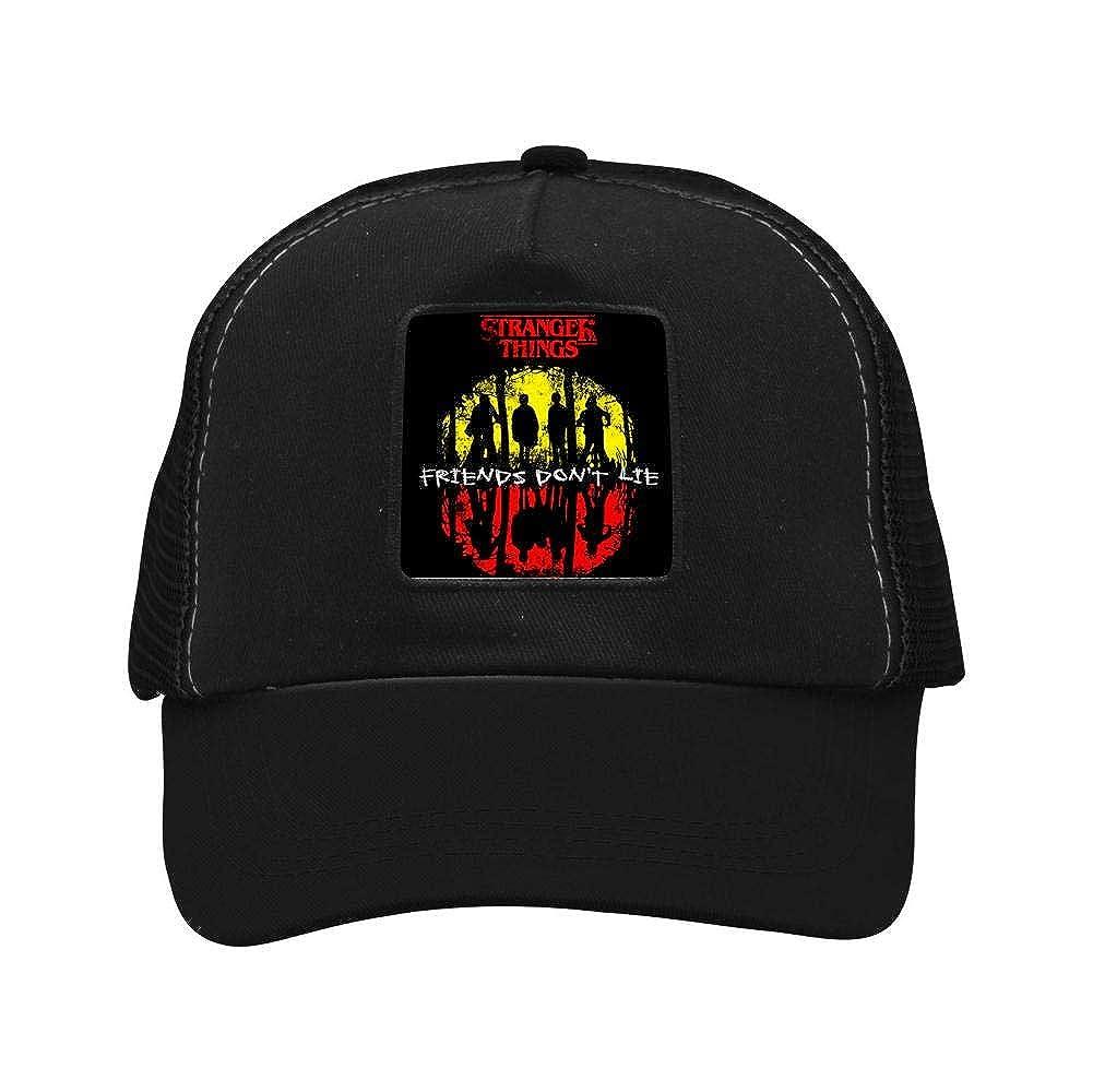KLKL Camiseta Stranger Things - Friends Dont Lie Men & Women Adjustable Unisex Snapback Trucker Hat Mesh Cap Black at Amazon Mens Clothing store: