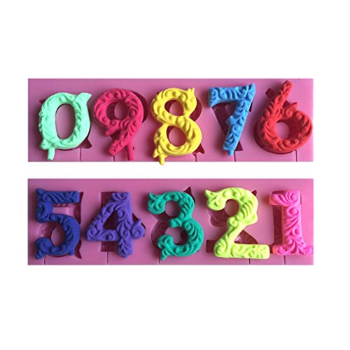FLY 0-9 Numbers 3D Silicone Mold For Cake Decorating Tools,Pink ()