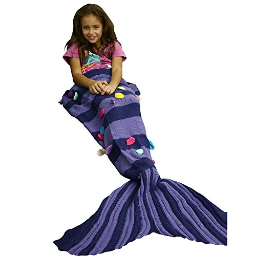 Zaful Mermaid Tail Blanket Super Soft Fashion Sleeping Bags Knitting Snuggle Best Christmas Birthday Gift for Girls Teens Kids (Patches, Purple Stripe) (Kids Snuggle Bag)