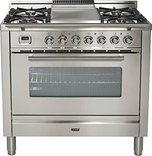 Ilve UPW90FDMPI Pro Series 36 Inch Dual Fuel Freestanding Range in Stainless Steel (Natural Gas)