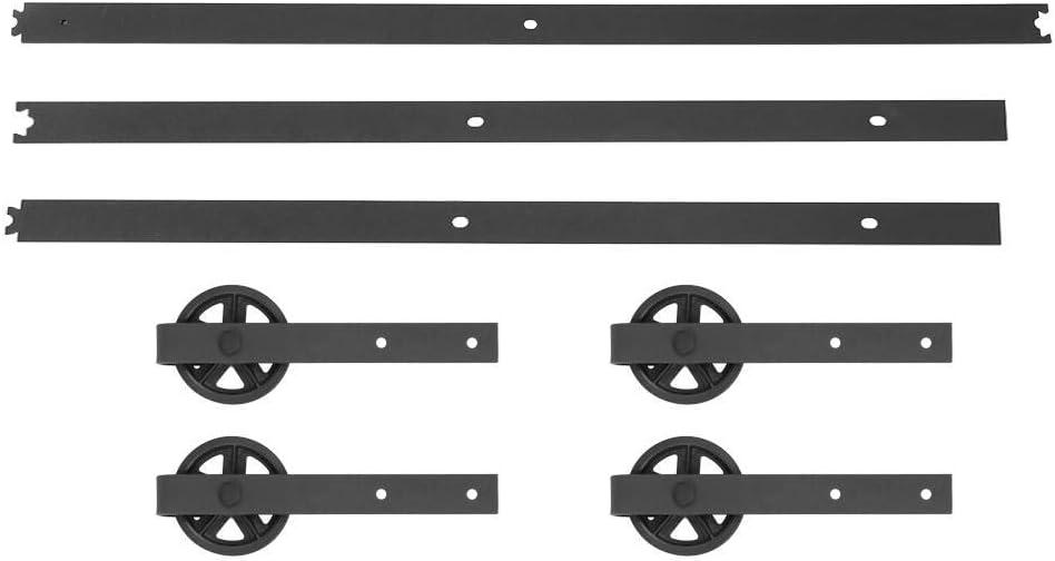 12FT doble puerta Splicing rueda redonda de acero al carbono Kit puerta corredera riel Sistema de puertas correderas Zerone