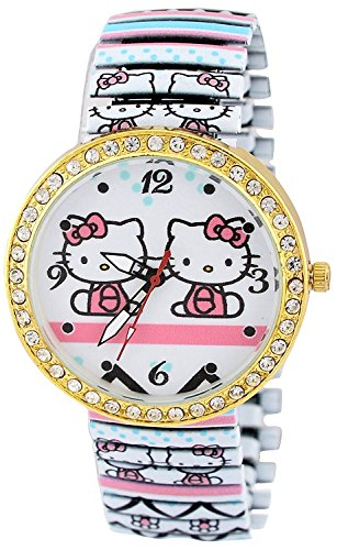 (Pappi-Haunt Unique Designer Stone Studded Cute Teddy Hello Kitty Stretchable Bracelet Band Analog Watch for Girls, Women)
