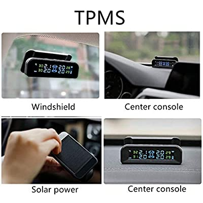 Spurtar TPMS Tyre Pressure Monitoring System, Solar Power Wireless TPMS Car Tire Pressure Monitoring System with Temperature and Pressure LCD Display Auto Alarm Real-Time Monitoring: Automotive