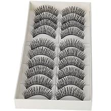 Dimart 10 Pairs Black Long Thick Soft Reusable False Eyelashes Fake Eye Lash for Makeup Cosmetic