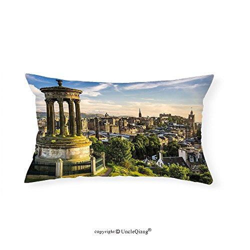 VROSELV Custom pillowcasesCityscape Edinburgh Town Aerial View of Historical Buildings Heritage Panorama Art for Bedroom Living Room Dorm Fern Green Blue Tan(16''x20'') by VROSELV