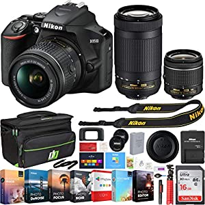 Nikon D3500 24.2MP DSLR Camera w/ 18-55mm VR Lens & 70-300mm Lens, Deco Gear Camera Bag (Medium), Sandisk 16GB Memory Card and Professional Editing Suite