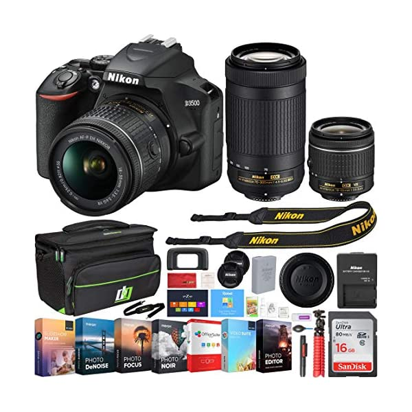 51QsXX45dPL. SS600  - Nikon D3500 24.2MP DSLR Camera w/AF-P 18-55mm VR Lens & 70-300mm Dual Zoom Lens - (Renewed) + 16GB Bundle