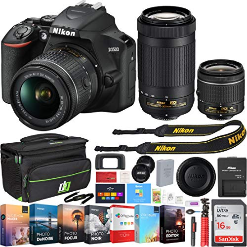 Nikon D3500 24.2MP DSLR Camera w/AF-P 18-55mm VR Lens & 70-300mm Dual Zoom Lens – (Renewed) + 16GB Bundle
