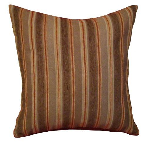 ReynosoHomeDecor 20x20 Brown, Orange, and Beige Stripes Chenille Decorative Throw Pillow Cover