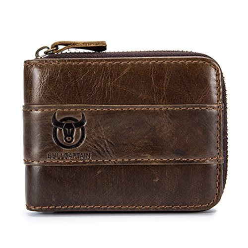 Mens Leather Wallet,E Ekphero Zipper Card Holder RFID Blocking Wallet Coins Purse by E Ekphero (Image #1)