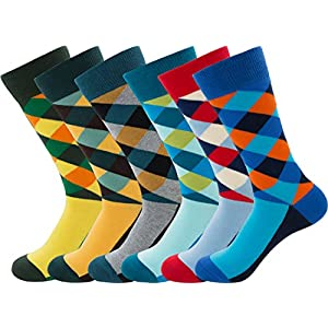 PUTON Men's Fun & Funky Colorful Cotton Dress Socks (Assorted 12)