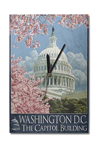 (Lantern Press Washington DC - Capitol Building and Cherry Blossoms (10x15 Wood Wall Clock, Decor Ready to Hang))
