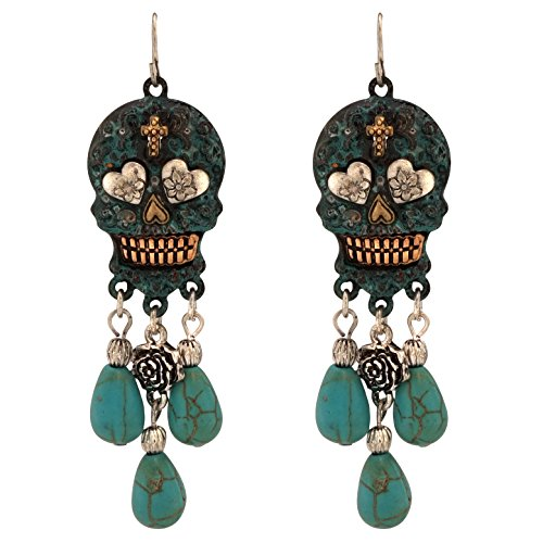 (Turquoise Stone Dangling Sugar Skull Fish Hook Earrings (Large / Patina))
