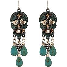 Turquoise Stone Dangling Sugar Skull Fish Hook Earrings