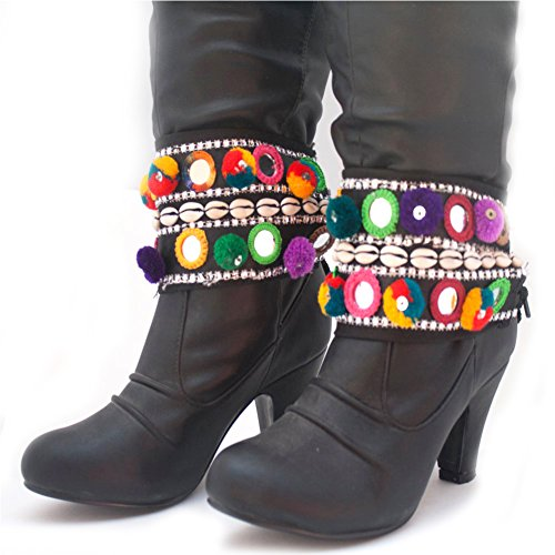 Duel on Jewel Tribal Afghan Kuchi Gypsy Woman's Boot Belt Set with Metal Coins Mirrors and Shells - Kuchi Metal Belt