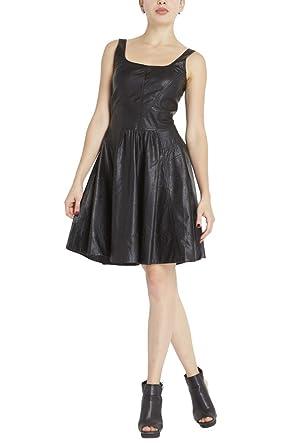... Muubaa Belvide Leather  huge discount 89cfc 2c9e1 Poshsquare Womens  Sleeveless Faux Leather Skater Classic Dress Black S ... 0dec27a98