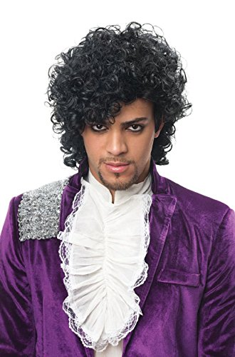 [OvedcRay Pop Singer Artist Musician Prince Costume Wig Black Jheri Curls Male Formerly] (Grease Lighting Costumes)