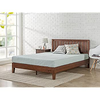 zinus 12 inch deluxe wood platform bed with headboard no box spring needed wood - No Box Spring Bed Frame