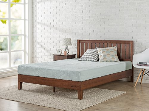 Zinus Vivek 12 Inch Deluxe Wood Platform Bed with Headboard / No Box Spring Needed / Wood Slat Support / Antique Espresso Finish