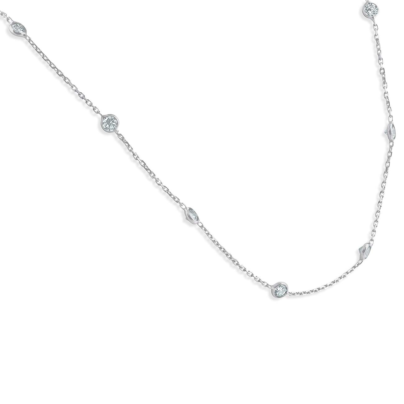 1 1/2 Ctw Diamond By The Yard Tennis Necklace 14K White Gold 18'' by P3 POMPEII3 (Image #2)