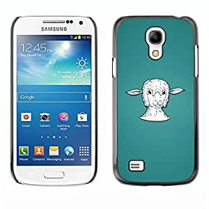 Design for Girls Plastic Cover Case FOR Samsung Galaxy S4 Mini i9190 Lamb Head Portrait White Farming Animal OBBA