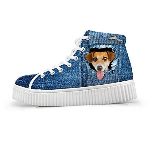 Bigcardesigns Kawaii Katt Tillfälliga Platta Sneakers Blå Stil Dog1