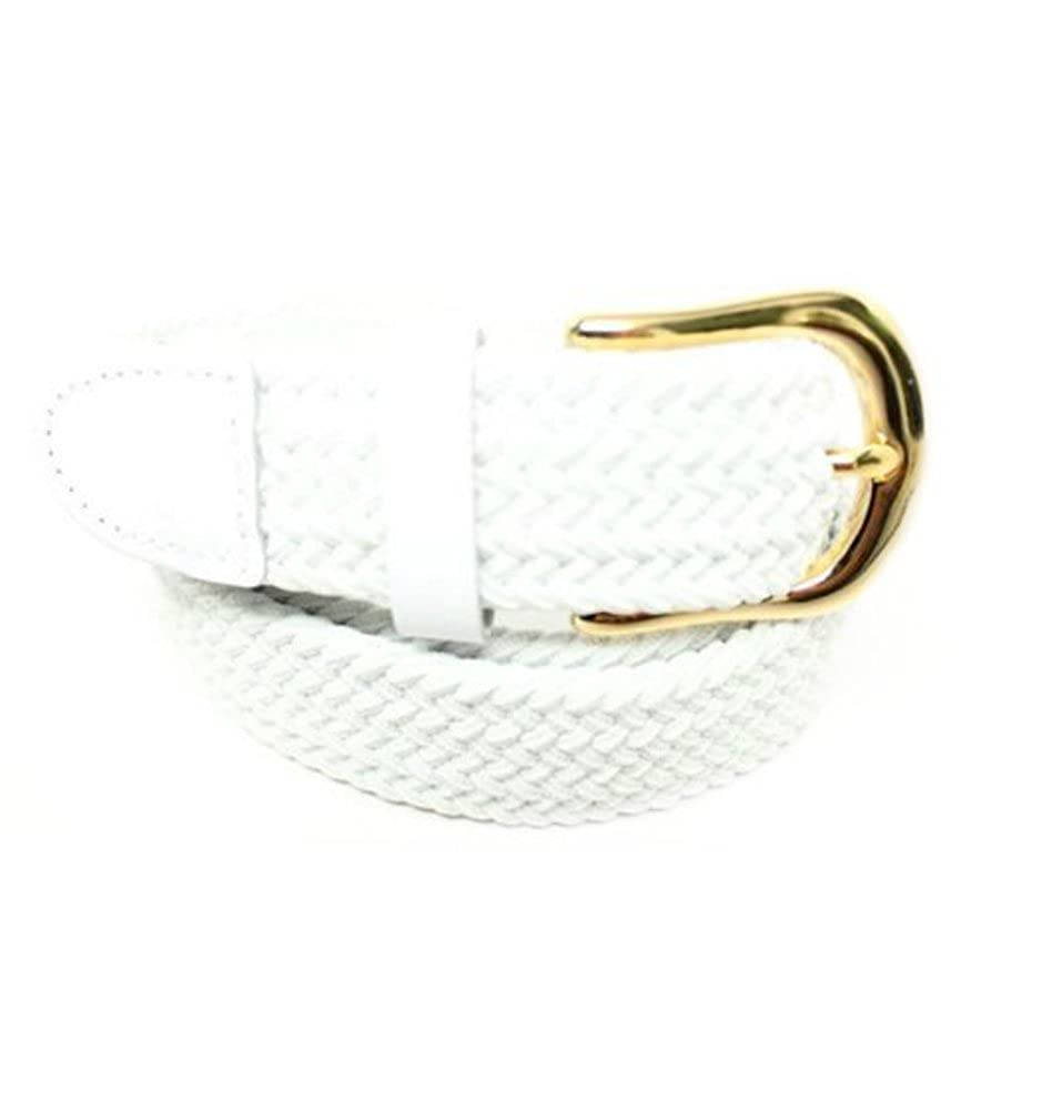 Deal Fashionista Mens 1.25 Casual Braided Elastic Stretch Belt With Gold Buckle
