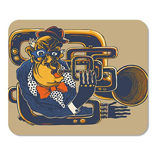 Suike Mousepad Computer Notepad Office Cool Jazz Musician Trumpeter Drawing Style Funk Trumpet Character Gonzo Adult Bass Home School Game Player Computer Worker 9.5x7.9 Inch -