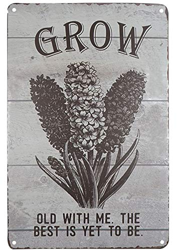 SKYC Grow Old with Me Flower Sign Vintage Metal Tin Sign Home Bar Kitchen Farmhouse Home Decor Signs Gifts Size 8X12Inch