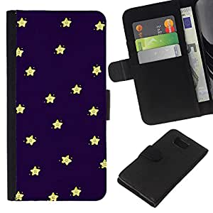 All Phone Most Case / Oferta Especial Cáscara Funda de cuero Monedero Cubierta de proteccion Caso / Wallet Case for Samsung ALPHA G850 // Sleep Baby Stars Sky Navy Blue Yellow