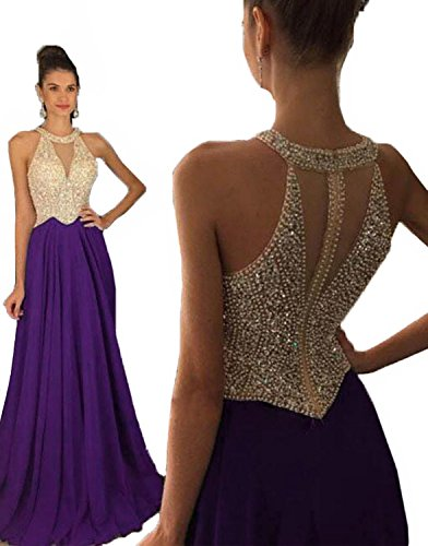 Long Prom 2016 Evening Women's Crystal Purple Dresses Formal Fanciest Gowns Beaded A6qxYY
