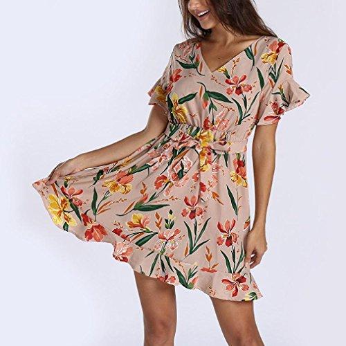Floreale ❀ da Spiaggia Maniche Vestiti Maxi Vestito Donne Donna JiaMeng Midi a Partito Elegante da Summer delle Abito Rosa Corte Manica Donna Vestito Corta da Dress TFdOq