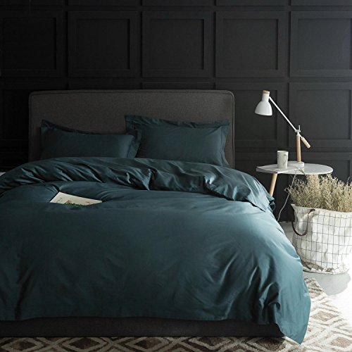 Eikei Solid Color Egyptian Cotton Duvet Cover Luxury Bedding Set High Thread Count Long Staple Sateen Weave Silky Soft Breathable Pima Quality Bed Linen (Queen, Pine Green)