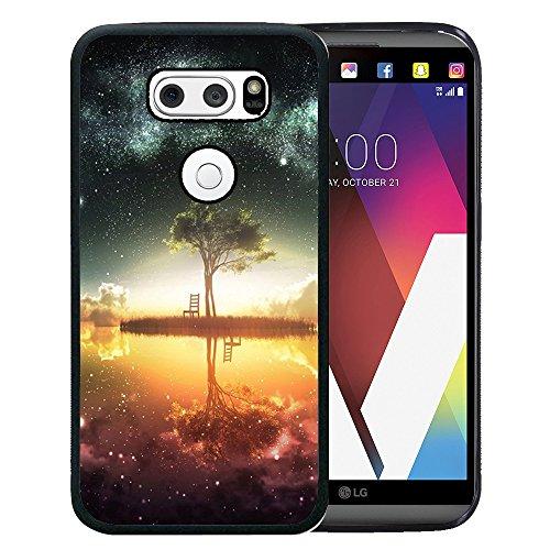 - LG V20 Case, Customized Black Soft Rubber TPU Case for LG V20 2016 - Black Night Sky-The River Around The Tree