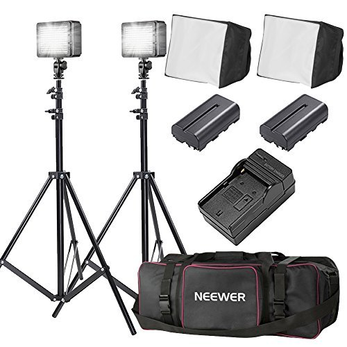 Bestlight® Double LED-204 Ultra High Power Panel Dimmable LED Video Light Kit with Large Deluxe Bag to Carry All Lights& Accessories for Canon, Nikon, Sony and Other Digital SLR Cameras by Bestlight