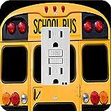Rikki Knight 8879 Back Of A Yellow School Bus Design Light Switch Plate