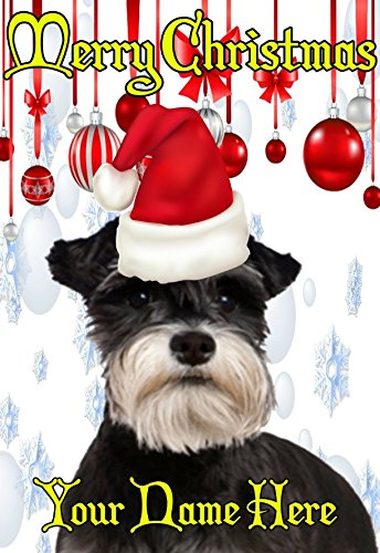 Miniature Schnauzer ptcc182 Santa Hat Xmas Christmas Card A5 Personalised Greeting cards POSTED BY US GIFTS FOR ALL 2016 FROM DERBYSHIRE UK … GIFTSFORALL