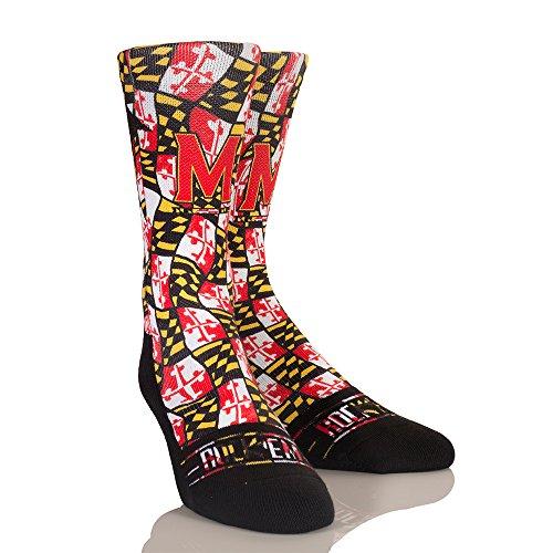 NCAA Maryland Terrapins Maryland Flag University Custom Athletic Crew Socks, Large/X-Large, Red
